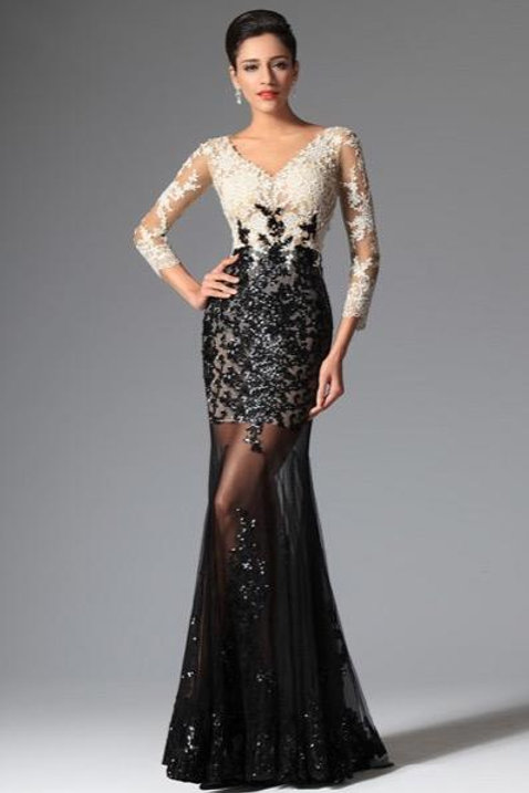 Sexy V-Cut Sequin Lace Sleeves Evening Prom Ball Gown (02149100)