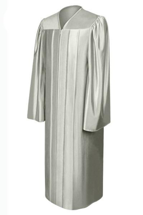 Silver Satin Graduation Gown