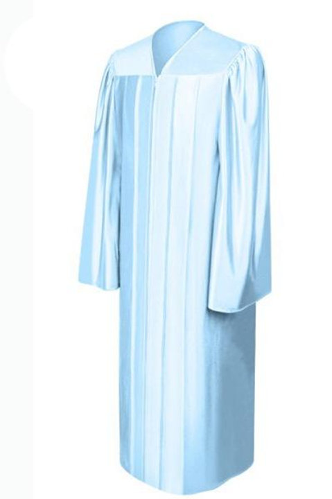 Light Blue Satin Graduation Gown