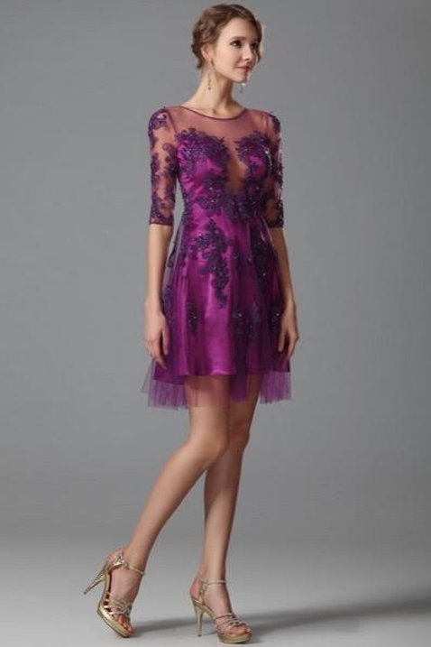 Hot Pink Half Sleeves Lace Short Party Dress (04151712)