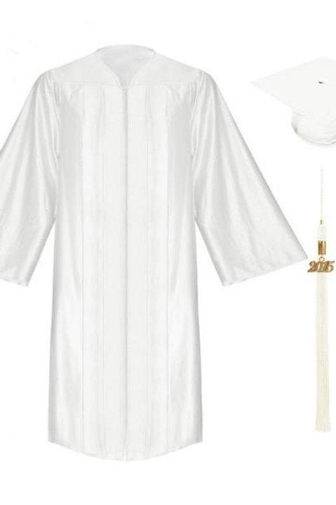 White Satin Graduation Gown, Cap And Tassel