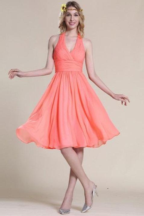 Halter Coral Bridesmaid Dress Cocktail Dress (07154857)