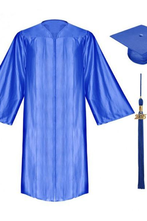 Royal Blue Satin Graduation Gown, Cap And Tassel