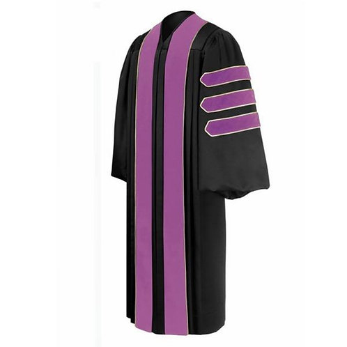 Phd Black Gown With Purple Piped Bars, Dr. Of Dentistry