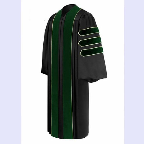 Phd Black Gown With Green Velvet And Gold Piping. Dr. Of Medicine