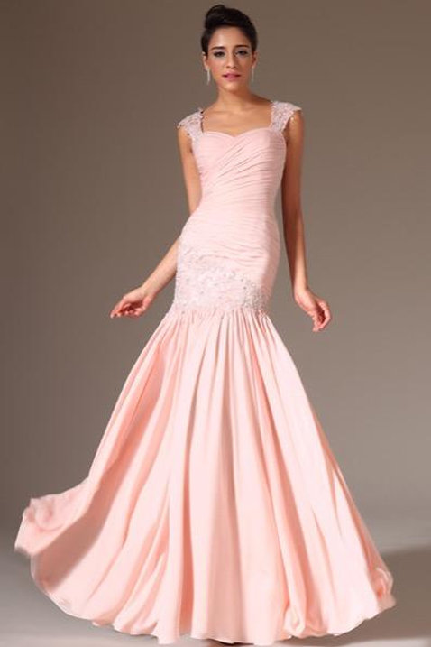 Light Pink Stunning Embroidered Lace Prom Evening Dress (00142201)