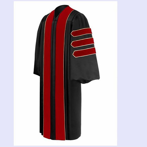 Phd Black Gown With Red Velvet Piped Bars, Dr. Of Theology