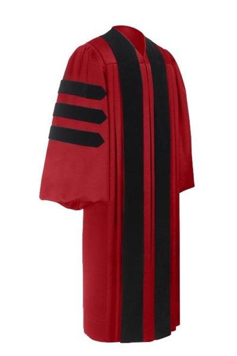 Deluxe Doctorate Graduation Gown Scarlett W-Black Velvet Bars