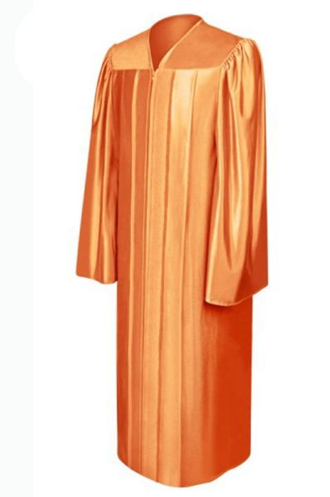 Orange Satin Graduation Gown