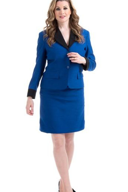 Two Button Contrast Collar And Cuff Suit