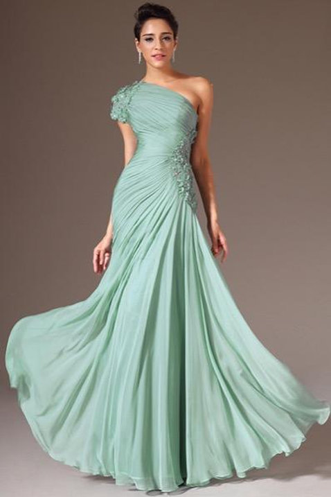 Turquoise One Shoulder Beaded Prom Dress (00146204)