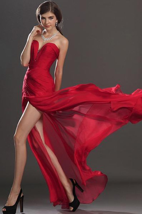 Stylish Ruched Bodice Red Evening Dress (00120502)