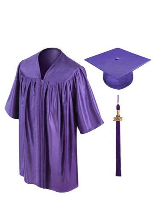 Purple Shiny Child Graduation Gown, Cap & Tassel
