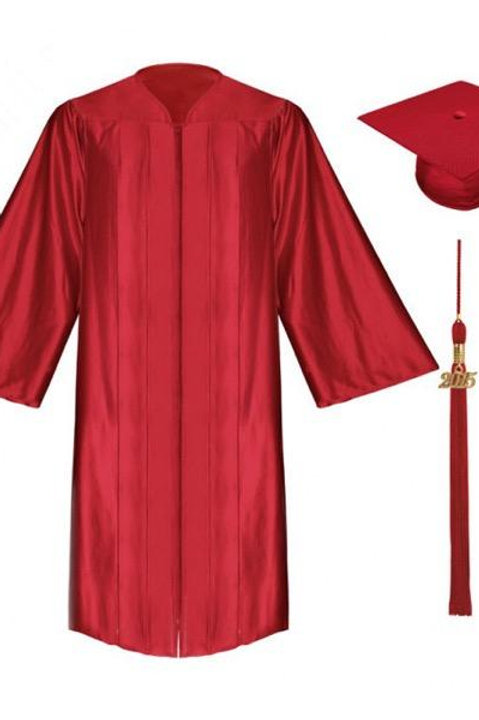 Red Satin Graduation Gown, Cap And Tassel