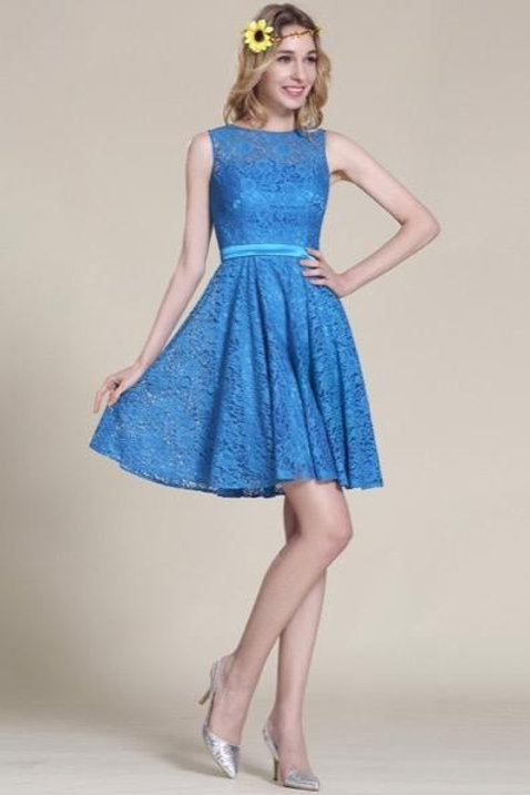 Blue Lace Bridesmaid Dress Cocktail Dress (07152605)