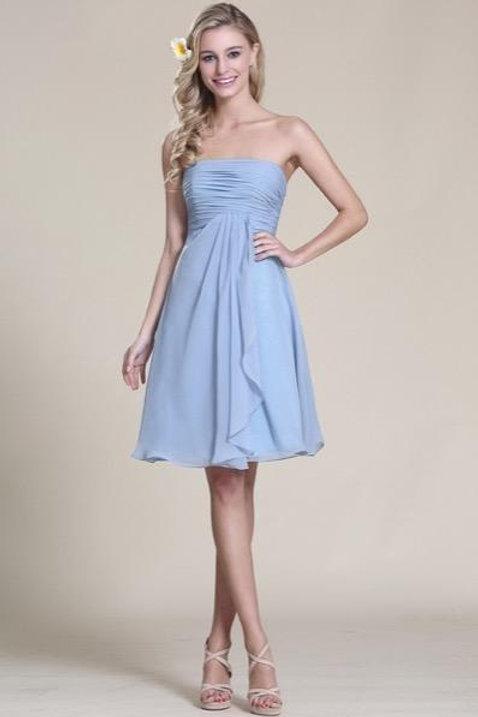 Strapless Blue Cocktail Dress Bridesmaid Dress (07151805)