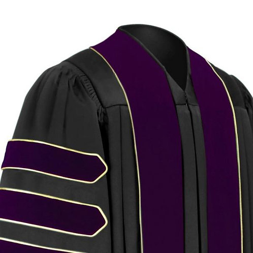 Phd Black Fluted Gown With Purple Velvet Dr. Of Law