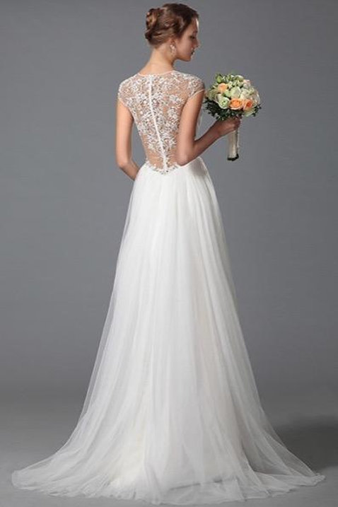 Simple V Cut Lace Beach Embroidery Wedding Gown Bridal Dress