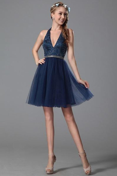 Sexy V Cut Halter Neck Homecoming Dress Party Dress (04150905)