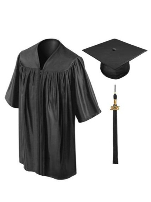 Black Satin Child's Graduation Gown, Cap & Tassel