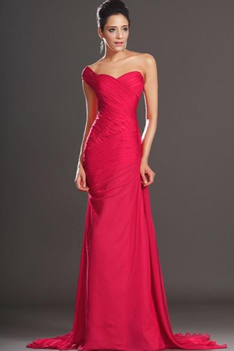 New Gorgeous Red One Shoulder Evening Dress (00132102)