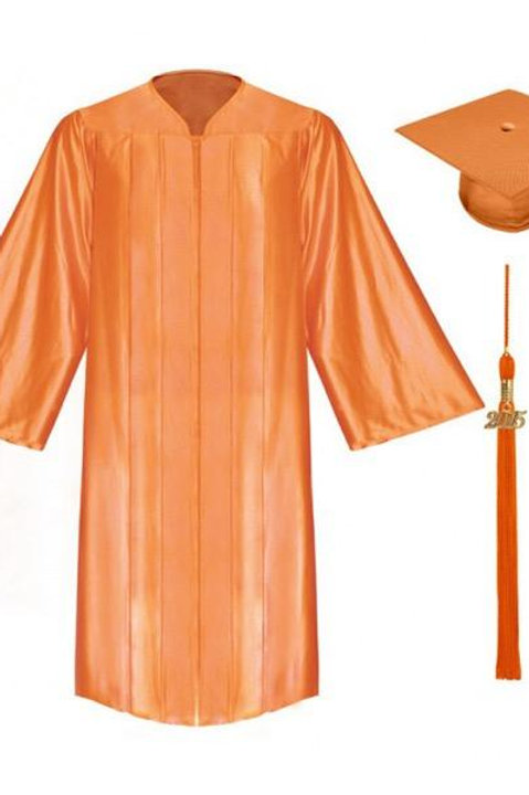 Orange Satin Graduation Gown, Cap And Tassel
