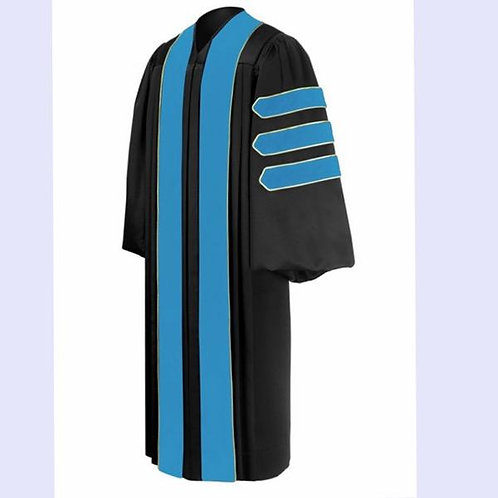 Phd Black Gown With Sky Blue Piped Bars, Dr. Of Education