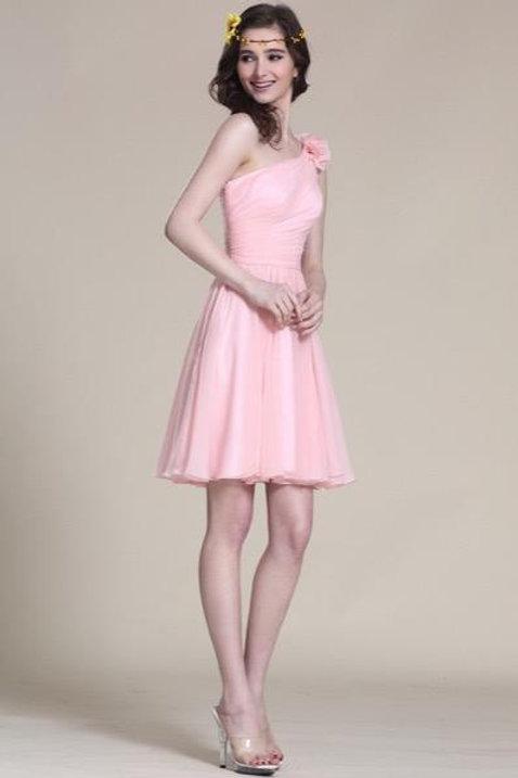 Floral One Shoulder Pink Bridesmaid Dress Party Dress (07151901)