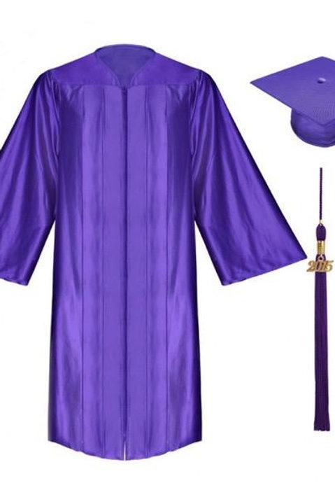 Purple Satin Graduation Gown, Cap And Tassel
