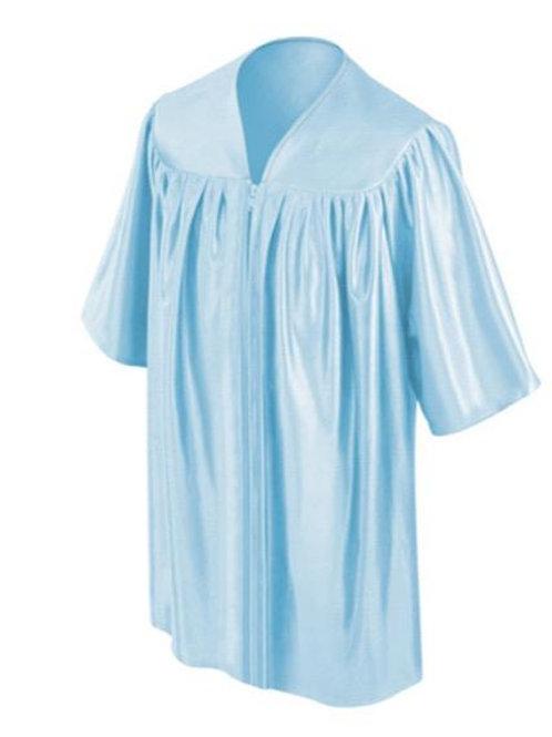 Light Blue Shiny Child Graduation Gown
