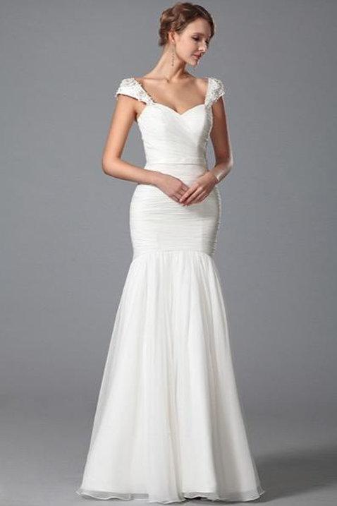 Cap Sleeves Sweetheart Neck Bridal Dress Floor Length (01150607)