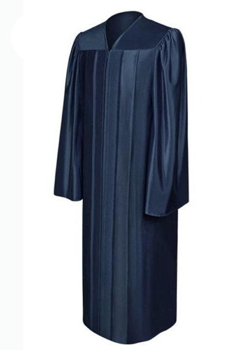 Navy Blue Satin Graduation Gown