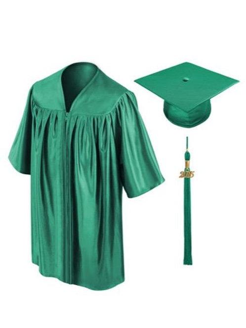 Emerald Green Shiny Child Graduation Gown, Cap & Tassel