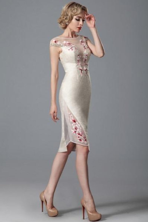 Cap Sleeves Formal Dress With Embroidery Details (03150613)