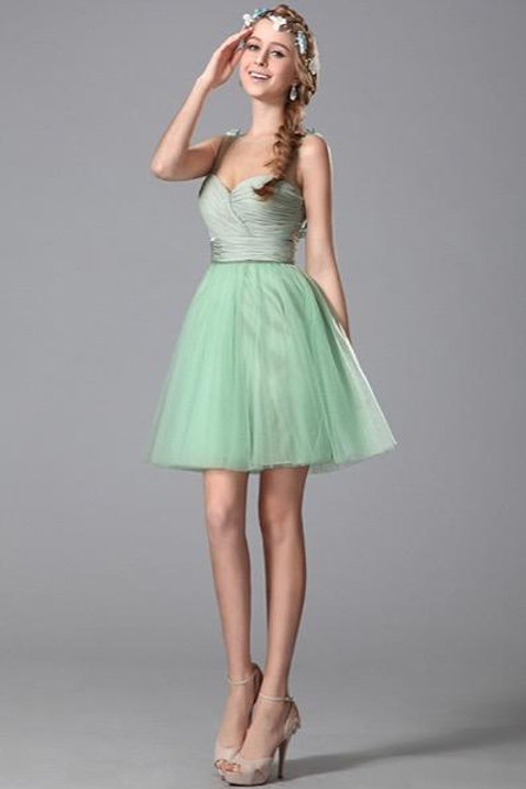Sleeveless Floral Light Green Homecoming Dress (04150304)