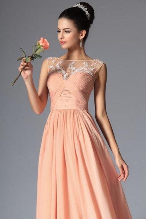 Sleeveless Hand-Made Beadings Evening Dress (00148110)
