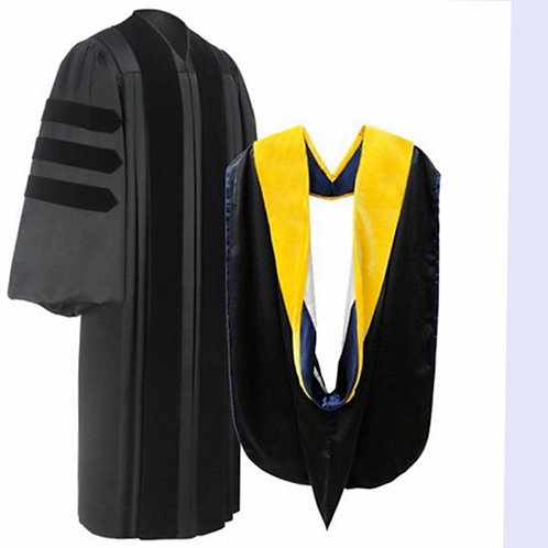 Deluxe Doctotal Gown & Doctoral Hood