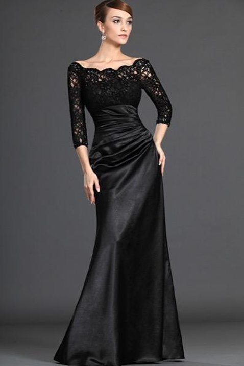 Stylish Black Lace Sleeves Mother Of The Bride Dress (26121800)