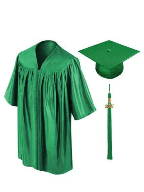 Green Shiny Child Graduation Gown, Cap & Tassel
