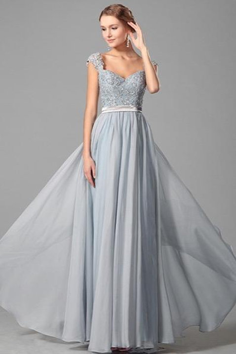 Elegant Beaded Lace Straps Evening Dress Prom Gown (00151032)