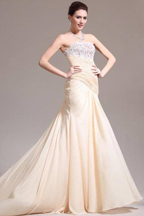 New Elegant Strapless Lace Evening Dress (02133814)