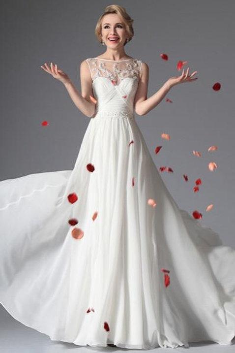 White Sleeveless Evening Dress Wedding Gown (01141707)