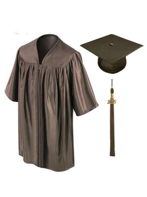Brown Satin Child's Graduation Gown, Cap & Tassel