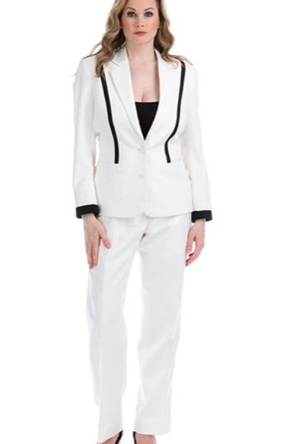 Two Button Contrast Inset Suit