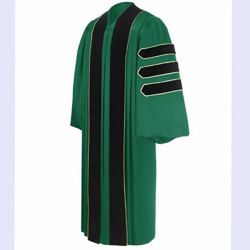 Phd Green Gown With Black Velvet And Gold Piping