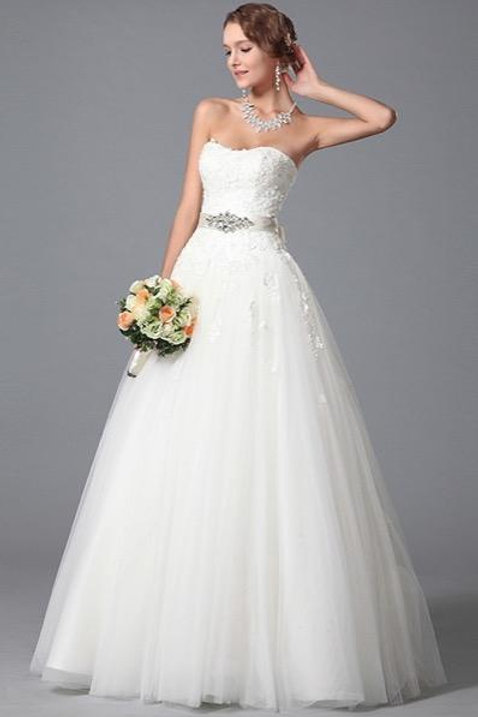 Strapless Beaded Waistline Lace Accented Wedding Gown (01150707)