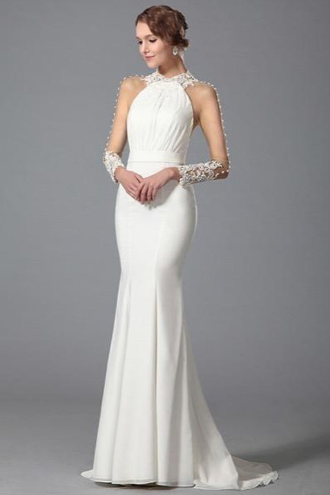 White Trumpet Long Sleeve Evening Dress Wedding Gown