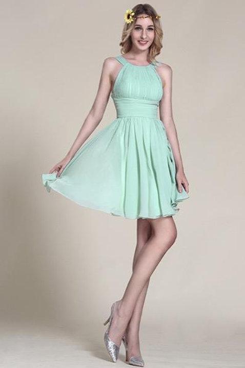 Halter Neck Mint Party Dress Bridesmaid Dress (07152004)