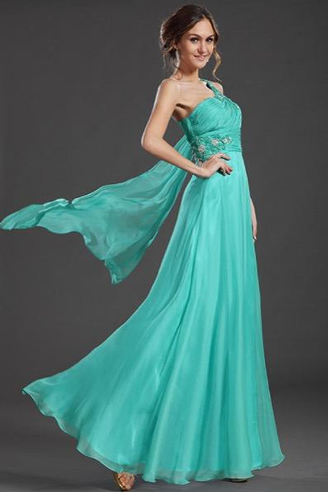 One Strap Blue Evening Prom Dress Formal Gown (36131605)