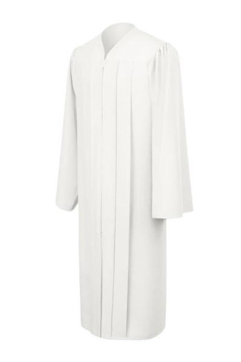 White Matte Graduation Gown